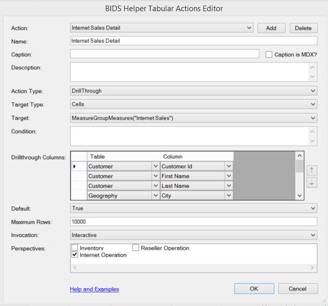 tabular actions editor