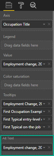 Mockup of requested Alt Text section in the Fields Pane of Power BI