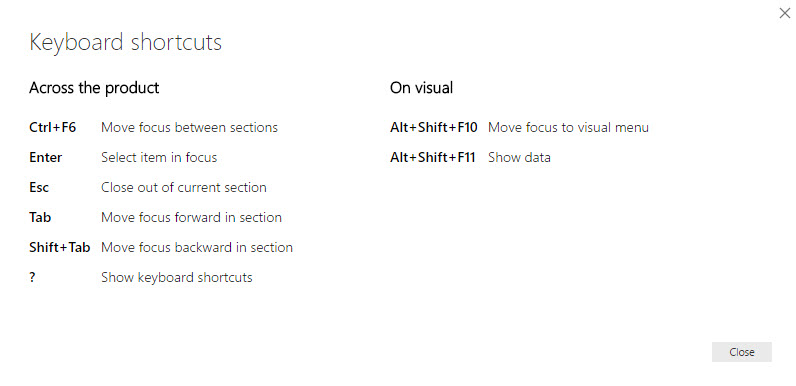 Keyboard shortcuts for Power BI reports