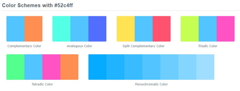 Example color schemes from ColorHexa.com