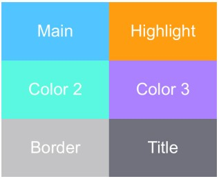 Example Power BI color palette with 6 colors