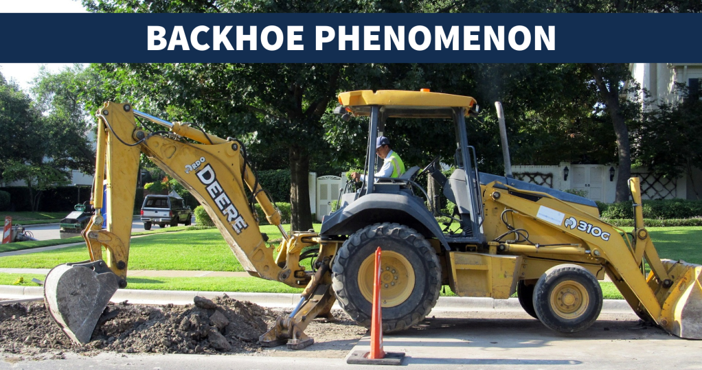 "Slide with backhoe and the words ""Backhoe phenomenon"""