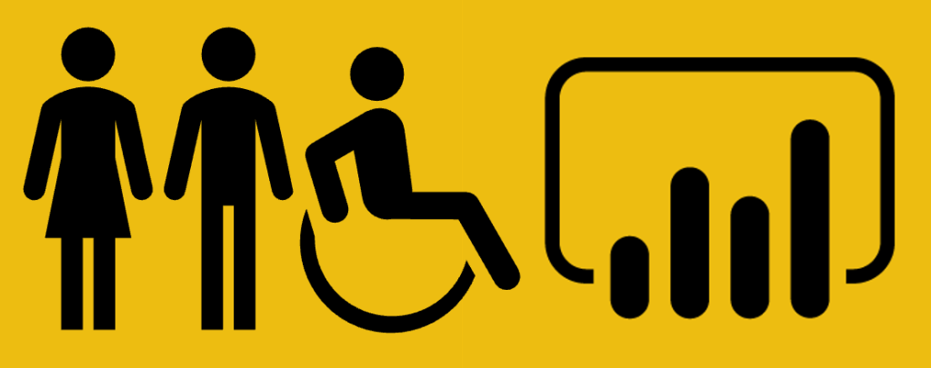 A woman, man, and person in a wheelchair positioned next to the Power BI logo