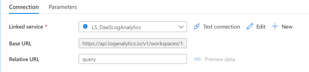 "Connection properties of a dataset in Azure Data Factory. The base url points to https://api.loganalytics.io/v1/workspaces/[workspaceid] with the workspace ID not shown. The relative url contains the string ""query""."