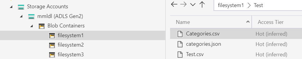 Azure Storage Explorer showing the mmldl storage account with filesystem1 selected. The Test folder in filesystem1 is selected and 3 files are shown.