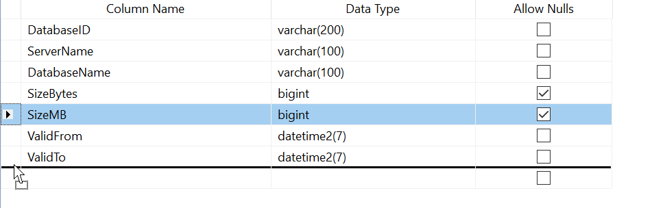 dragging the SizeMB column to the bottom of the columns list in the table.