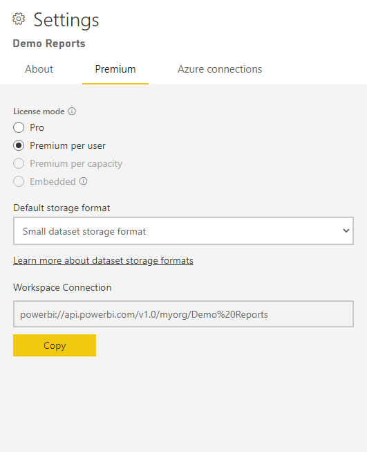 Settings for a Power BI workspace called Demo Reports.