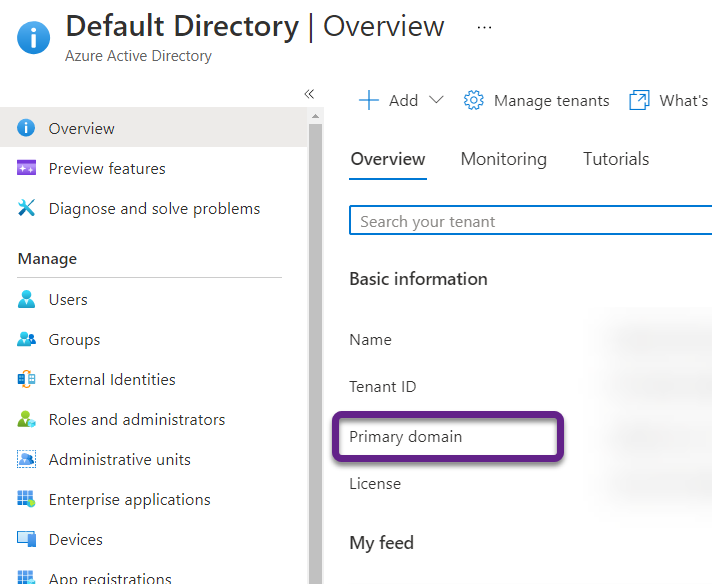 Overview page in the Azure Portal for Azure Active Directory with the Primary Domain circled under basic information.
