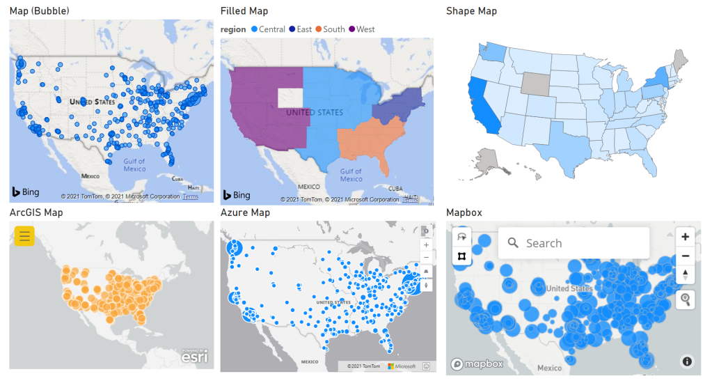 6 map visuals on a power bi report: a bubble map, filled map, shape map, ArcGIS map, Azure Map, Mapbox map.